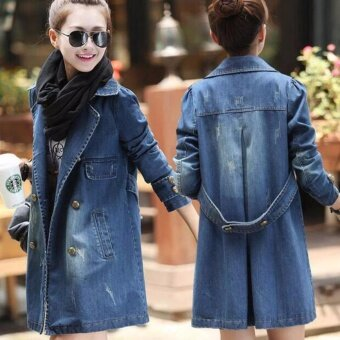 Spring and Autumn Plus Size Women's Korean Version of The LongSection of The Cowboy Coat Winter Coat - intl