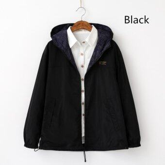 Spring Autumn New Sweet Female Hooded Loose Coat (Black) - intl