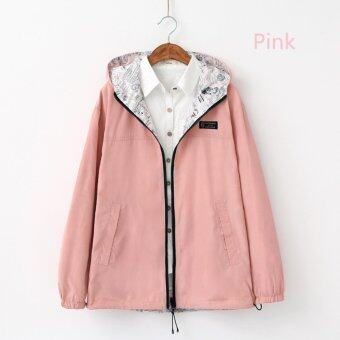 Spring Autumn New Sweet Female Hooded Loose Coat (Pink) - intl