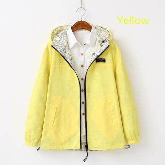 Spring Autumn New Sweet Female Hooded Loose Coat (Yellow) - intl
