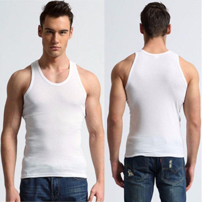 Squareladies แพ็ค 2 ชิ้น เสื้อกล้ามชาย เสื้อแขนกุดลำลอง สำหรับผู้ชาย No.MQ-310 (White)