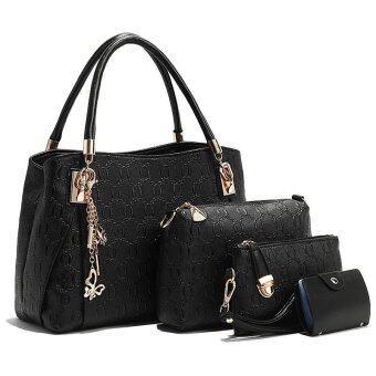 ลดราคา กระเป๋าถือสะพายข้างหนัง เซต 4 ใบ รุ่น st363 (สีดำ)