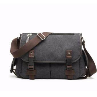 อยากขาย Stmartshop กระเป๋าสะพายข้างผ้าใบใหม่ Messenger Style Bag รุ่น 9849 (สีดำ)