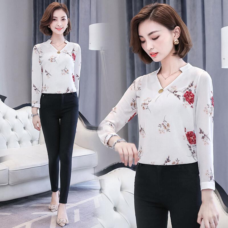 หญิงแขนยาวฤดูใบไม้ผลิและฤดูใบไม้ร่วงใหม่เกาหลีป่าเสื้อยืด Suihua เสื้อชีฟอง (สีขาวดอกโบตั๋นดอกไม้)