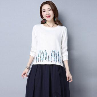 Suihua เกาหลีปักฤดูใบไม้ร่วงใหม่แขนยาวเสื้อ (สีขาว)
