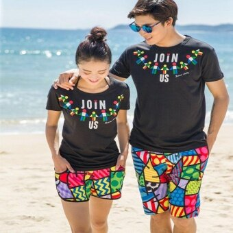 Summer lovers beach shorts leisure pants men's and women's hotpants beach resort honeymoon quick-drying loose beach lovers shortsWomen - intl - 2