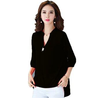 Summer Popular Fashion Plus Size Chiffon Shirt - Black - intl