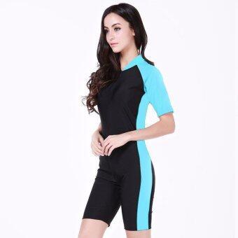 Summer Short Sleeve Swimwear One Piece Swimsuit For Women???Light Blue??‰