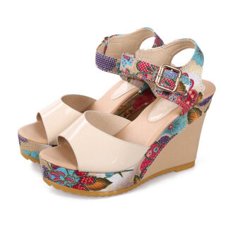 Summer Women Ankle Strap Peep Toe Sandals Floral High Heel Wedge Slingback Shoes
