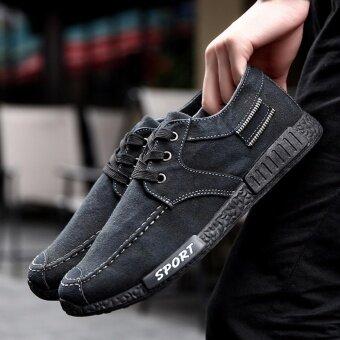 SUN รองเท้าผ้าใบ รองเท้าผ้าใบผู้ชาย รองเท้าแฟชั่น B05 (Black)