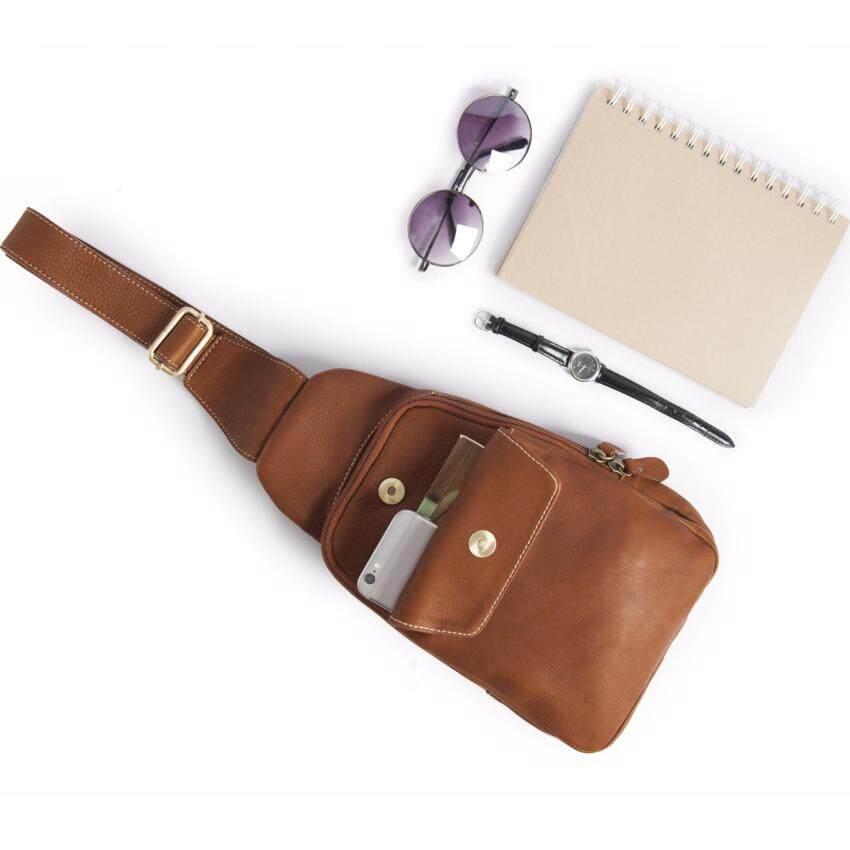 กระเป๋าหนังแท้ สะพายเฉียง สะพายหน้า เกรดพรีเมี่ยม Sun Lifestyle รุ่น SL280-3 (สีช็อคโกแลต)
