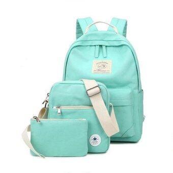 ประกาศขาย ชุดกระเป๋าผ้าแคนวาส 3 ชิ้น สีพื้น รุ่น H3WN629GN (สีเขียวมินต์ )