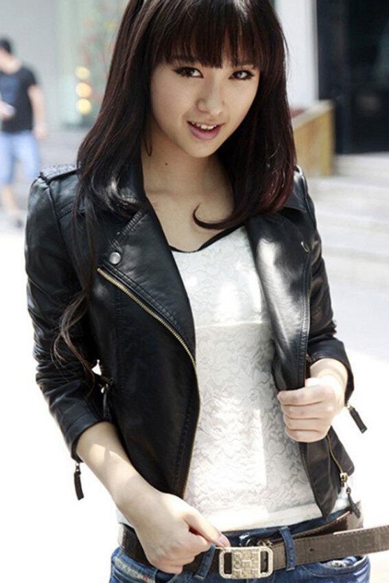 Sunweb แจ็คเก็ตหนังเสื้อตัวนอกสั้นหญิงรถจักรยานยนต์เสื้อนอกสีดำ