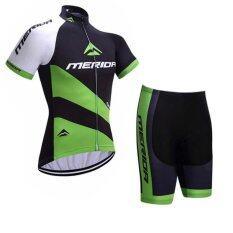 SUPER D ชุดสั้นปั่นจักรยานลายทีม ยี่ห้อ: MERIDA กางเกงเป้าเจล แบบ:ผู้ชาย/ผู้หญิง