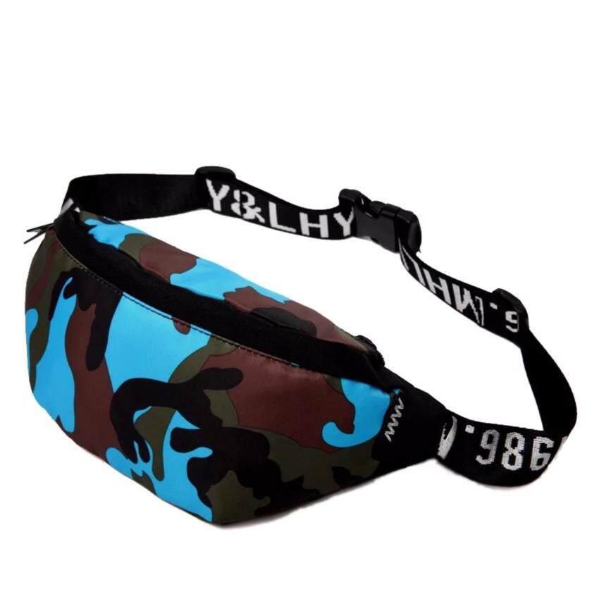 Super Meกระเป๋าคาดเอว กระเป๋าวิ่ง กระเป๋าสะพาย Travel Waist Bag (Camo น้ำเงิน)