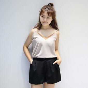 ขนาดใหญ่ไขมันเกาหลีชีฟองฤดูร้อนเป็นบาง suspenders เสื้อ (กางเกงสีดำ)