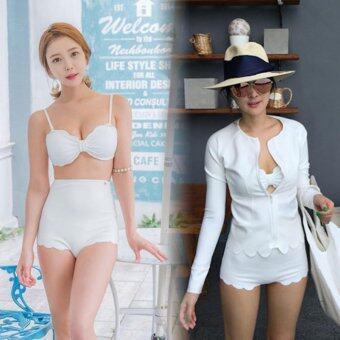 เซ็ตชุดว่ายน้ำบิกินี่สีขาวพร้อมเสื้อคลุม SZ1197