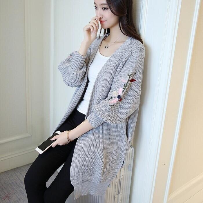 TB Korean version of the long section of loose embroidery cardigan sweater lantern sleeve slit pocket (Grey) - intl
