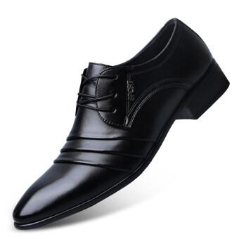 เกาหลีรุ่นชายฤดูใบไม้ผลิธุรกิจใหม่รองเท้าลำลองรองเท้า (TENGA สีดำ)