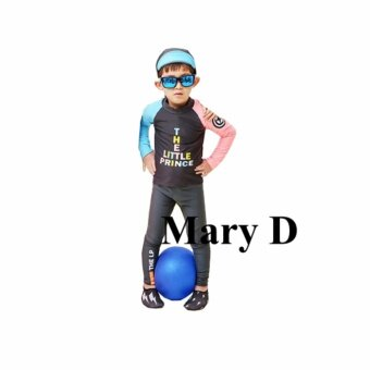 ชุดว่ายน้ำเด็ก แขนยาว ขายาว The Little Prince กางเกงดำ Black เซ็ต 2 ชิ้น # 17008