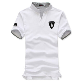 The new Men's fashion slim Short-Sleeved POLO shirt withLamborghini printed(white) -intl