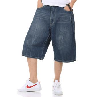 Tide แบรนด์ฮิปฮอปไซส์พิเศษไซส์ใหญ่พิเศษผู้ชายกางเกงในกางเกงยีนส์ (สีน้ำเงินเข้ม)