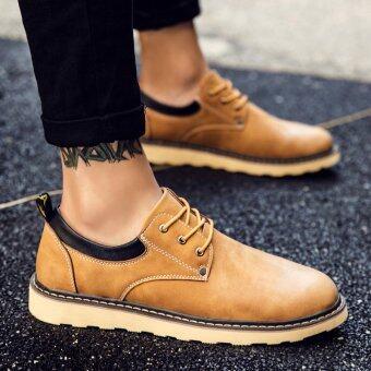 ใหม่ Tooling รองเท้าหนังฤดูใบไม้ร่วงของผู้ชาย (สีเหลืองสีน้ำตาล)