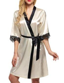 Toprank Ekouaer Women Satin Lace Splicing Nightwear Lace Up Mini Robes ( Beige ) - intl