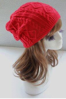Toprank Winter Hats For Women Beanies Twisted Knitted Hat Apparel\nAmp; Accessories Knitting Warm Hat ( Red )