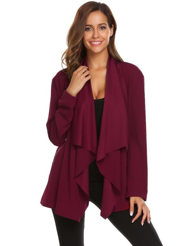 Toprank Women Casual Ruffle Front Open Long Sleeve Zipper Pocket Cardigan Outwear Tops ( Red ) - intl