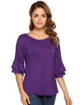Toprank Women Casual Ruffle Sleeve Round Hemline O Neck Solid Loose Pullover T-Shirt ( Purple ) - intl