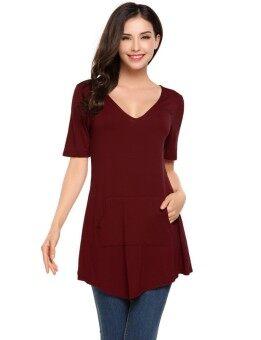 Toprank Women Casual V-Neck Short Sleeve Pocket A-Line Hem Pullover T-shirt ( Red ) - intl