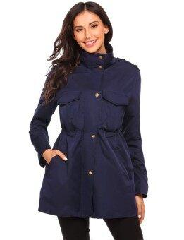 Toprank Women Stand Collar Long Sleeve Zip-up Lightweight Jacket ( Navy Blue ) - intl