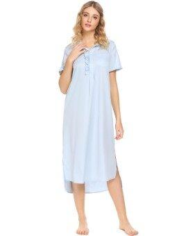 Toprank Women Turn Down Collar Short Sleeve Ruffles Split High Low Hem Nightgown - intl