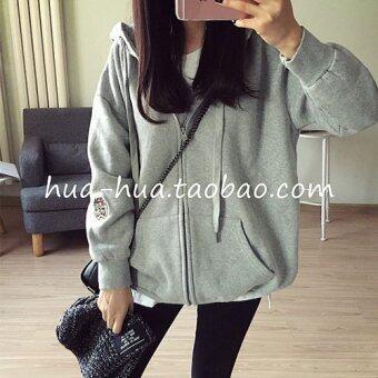 Tucky&Jiang เสื้อคลุม แขนยาว บุกันหนาว มีฮูด ซิบหน้าปักลายทาสมาเนี่ยน สีเทา 008425