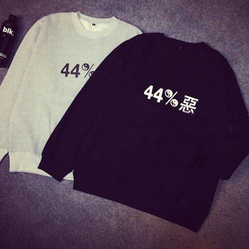 Tucky&Jiang เสื้อยืดแขนยาว ด้านในบุกันหนาว ลาย 44% สีดำ 3111