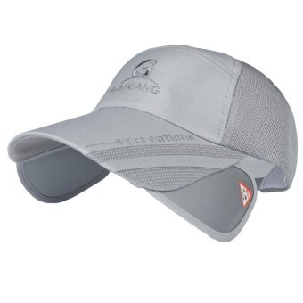 Unisex Fashion Adjustable UV Protection Summer Sun Baseball Cap Hatwith Retractable Brim Extender for Outdoor Beach Walking FishingHiking Camping Traveling Grey - intl