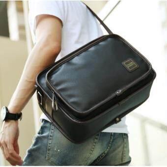 จัดโปรโมชั่น กระเป๋าสะพายข้างผู้ชาย ใบขนาดพอเหมาะ หนัง PU รุ่น UP155 - สีดำ