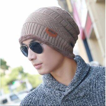 Upper หมวกผ้าไหมพรมลายถัก สไตล์เท่ห์ รุ่น UP46 (สีน้ำตาลอ่อน)