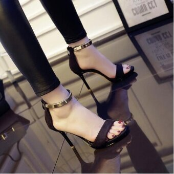 UR Europe and America Sexy High Heels Sandals Black - intl