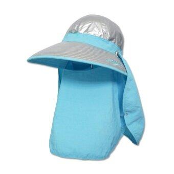 หมวกกันยูวี กันUV หมวกปิดหน้าปิดคอ มีผ้า2ชิ้น หมวกคลุมหน้า (สีฟ้าอ่อน) by Season Tales