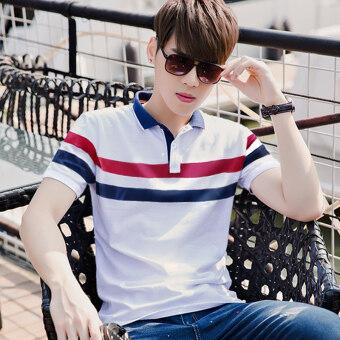เวอร์ชั่นเกาหลี V คอปกเสื้อโปโลเสื้อยืดเสื้อเชิ้ต (1719 สีขาว)