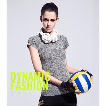 ประเทศไทย Vena Wear เสื้อยืดออกกำลังกาย เสื้อกีฬาผู้หญิง เสื้อฟิตเนส โยคะ (สีเทา)
