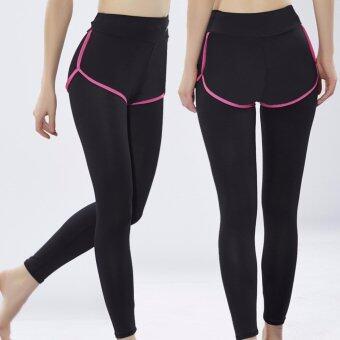 Vena Wear กางเกงออกกำลังกายผู้หญิง 2in1 กางเกงกีฬา ซับในเลกกิ้ง(สีดำขอบชมพู)
