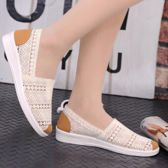 Vendoor BXW0062 Women Casual Flat Shoes Slip-ons Beige - Intl