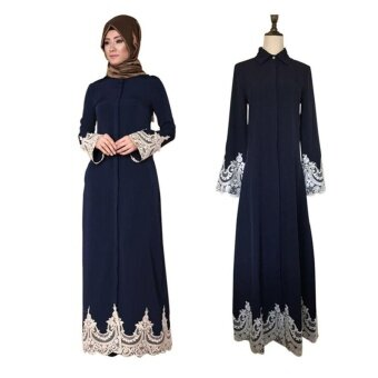 Victory new female fashion Full deduction Muslim Lace robe MuslimLong pattern Dress Muslim Eid Abaya (Blue) - intl