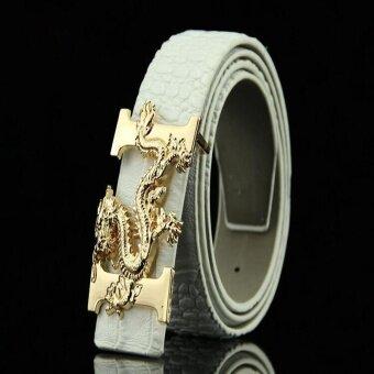 Victory New Men Crocodile pattern Leading Buckle Belt jeans smoothBuckle belt Belt(White) - intl