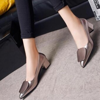 Victory New paragraph Shallow mouth Single shoes crude heel pointedfashion Women's Shoes (Grey) - intl