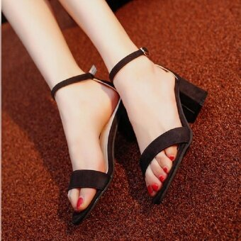 Victory New Women Tide Word buckle Female rough with Open toe SexyPack with High-heeled sandals(Black) - intl
