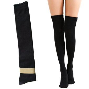 Vinmax Winter Fashion Over Knee Socks Sexy Warm Thigh High LongKnit Cotton Stockings For Girls Ladies Women ( Black ) - intl